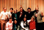 The Antshillvania II team showing our 'antennas' after a recording session. (Back, L-R) Mike Milligan, Ron Krueger, Carol & Jimmie Owens, Frank Hernandez, Mark Pendergrass. (Front, L-R) Marci Pelot, Irene Trapp, Betsy Hernandez and Ane Weber.