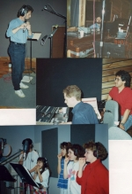 Recording Hide 'Em In Your Heart I - That's arranger, Fletch Wiley, playing flute (upper left), David Huntsinger on organ (upper right), Dan Rudin, engineering (middle), and the kids recording Keep Your Tongue From Evil.