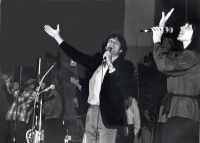 Silverwind singing and worshipping on stage.  (L to R - Barry McGuire, Patty, Georgian & Betsy)